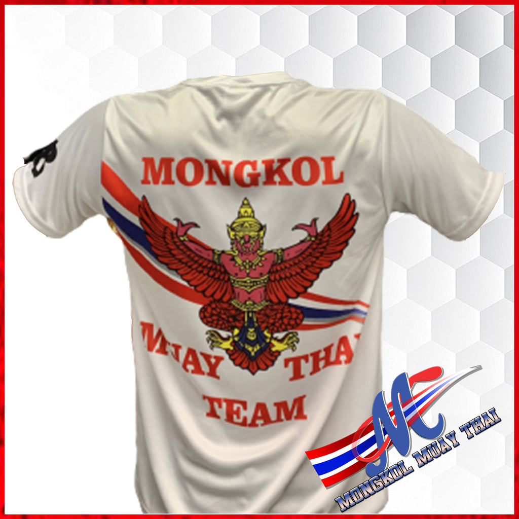 Mongkol Tee Shirts Tra-Krut ( back side), Mongkol  headband ( back side)Fight Team