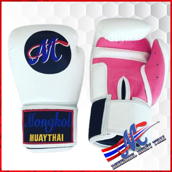 Mongkol Muay Thai Boxing Gloves - White/Pink Palm