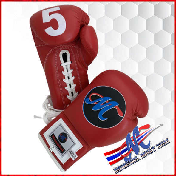 Mongkol Muay Thai Boxing Gloves- Red Lace Up #5