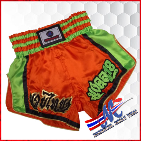 shorts, muaythai  shorts brave orange green