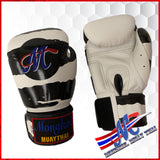 boxing gloves zebra white black limited  10, 12, 14, 16oz velcro boxing