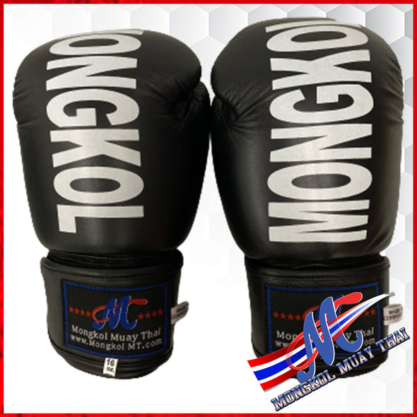 Mongkol Boxing Gloves: Velcro, Black (PU)