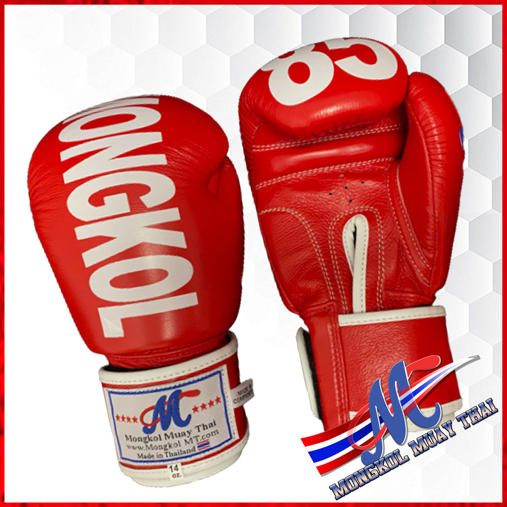 Mongkol Boxing gloves Red Thai Flag #85 12oz, 14oz, 16oz NEW