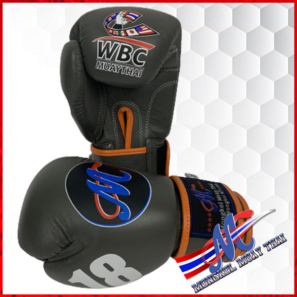 Mongkol Muay Thai Boxing Glove WBC VELCRO Grey #18 in white Thump Orange lining