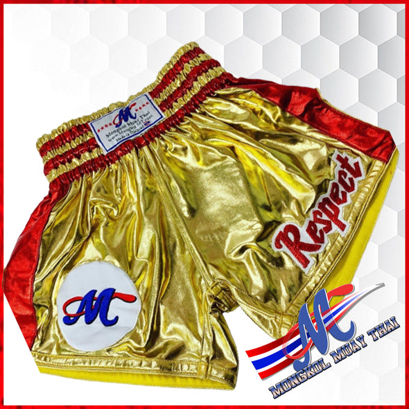 Mongkol Muay Thai Shorts RESPECT Gold Side Red