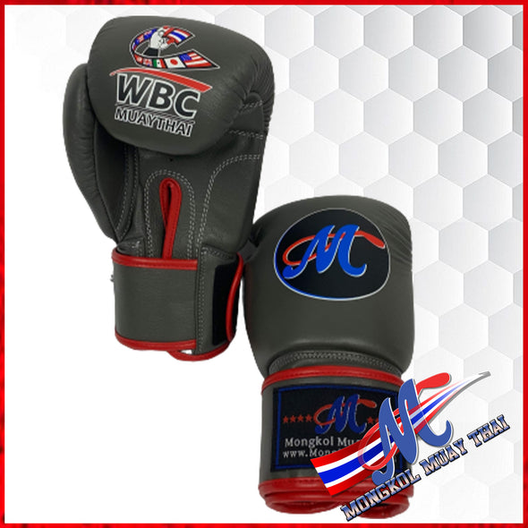 Mongkol Muay Thai Boxing Glove WBC Collection No18 VELCRO Grey/Red lining