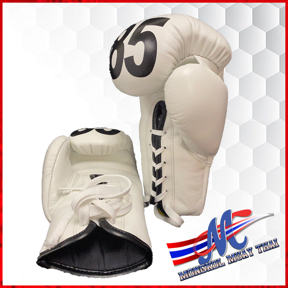 Mongkol Boxing Gloves: White, Lace Up, Mongkol Print, #85- COLLECTION