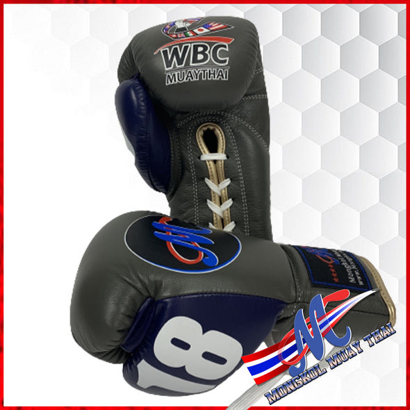 Mongkol Boxing gloves WBC Lace Gray Blue Thump #18 limited edition