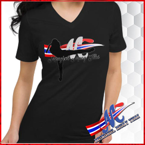 tee shirst women fighters black color, V neck