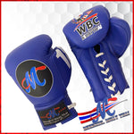 boxing gloves wbc blue lace up 10oz pro fight competition logo m