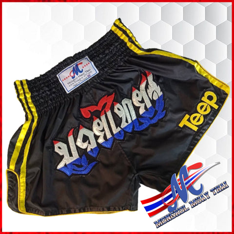 thai shorts teep black yellow s,m,l