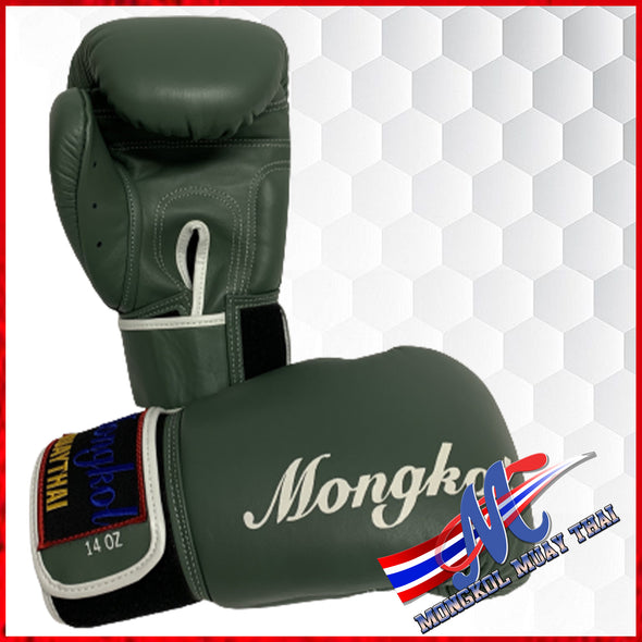 Mongkol Muay Thai Boxing Gloves- Green Stripe