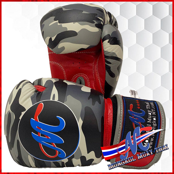 Mongkol Boxing Gloves- Velcro Gray Camo/Red Palm