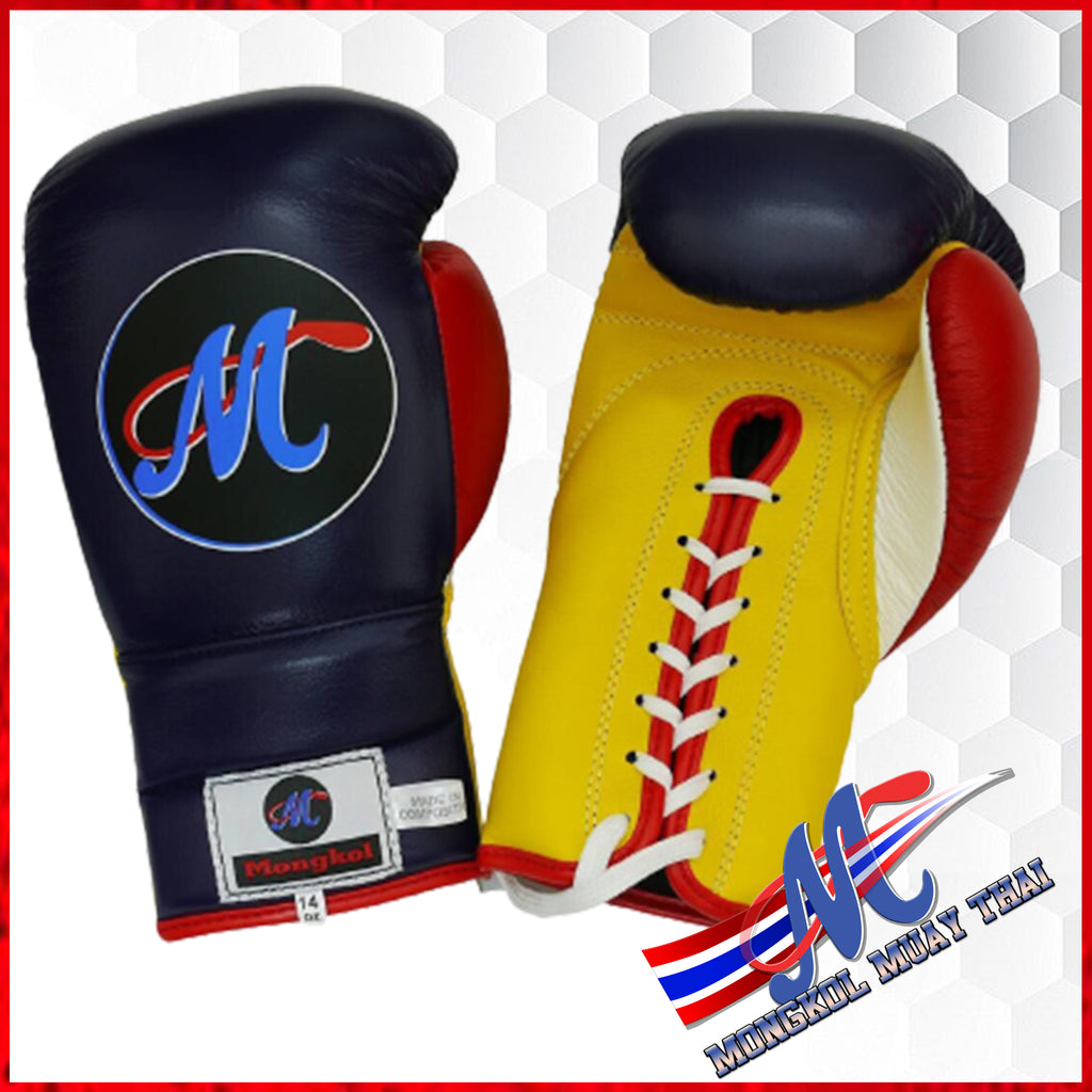 Mongkol Muay Thai Boxing Gloves Navy Blue/White/Red/Yellow colorway LACED UP
