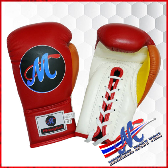 Mongkol Muay Thai Boxing Gloves - Red/White/Yellow/orange colorway
