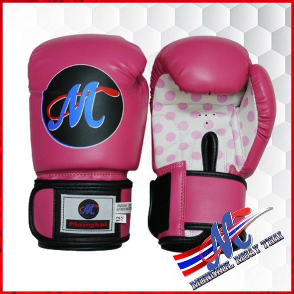 Mongkol Muay Thai Boxing Gloves - Pink/Dot