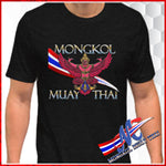 T-SH Tra-krut Mongkol print for men, black . royal blueS,M,L,XL