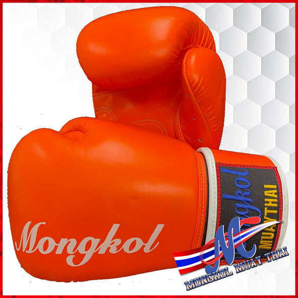 Boxing gloves Orange 10oz, 12oz, 14oz mongkol strip