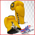 Mongkol Boxing Gloves: Yellow, Lace Up, #85-COLLECTION