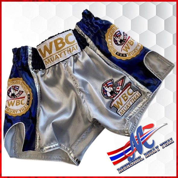 WBC Muaythai shorts Gray-Blue