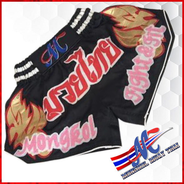 Mongkol Muay Thai Boxing Shorts- Black Moni Fight & Fit