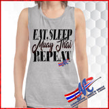 T-SH eat sleep Muay Thai Repeat gray, muscle tank for women