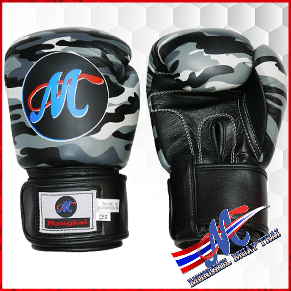 Mongkol Muay Thai Boxing Gloves- VELCRO GRAY CAMO