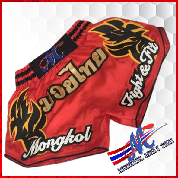 Mongkol Muay Thai Shorts Red Moni Fight & Fit