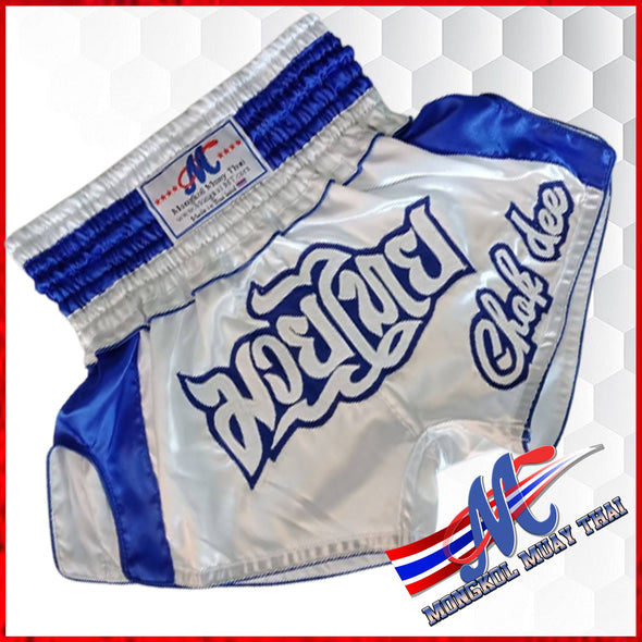 Mongkol Muay Thai shorts Chok Dee white Blue