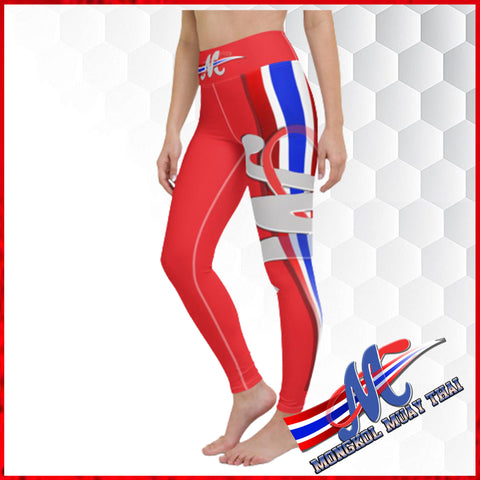 Mongkol leggings red thai flag xs,s,m,l,xl yoga, pilates legging,