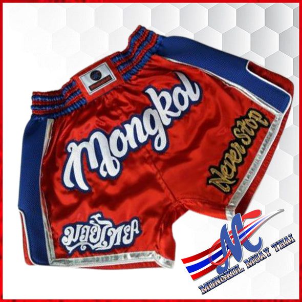 thai shorts boxing shorts never stop red blue M, L Mongkol shorts neverstop SNS