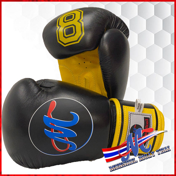 New Mongkol Boxing Gloves Velcro No 8 Black-Yellow 16oz