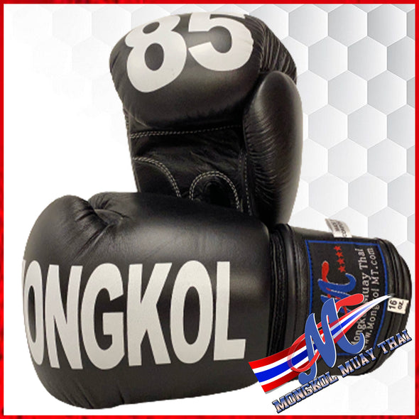boxing gloves No85 black printed Mongkol 16oz popular buy