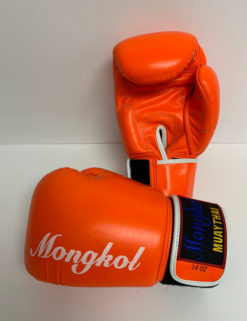 Mongkol Muay Thai Boxing Gloves  Orange Stripe Velcro