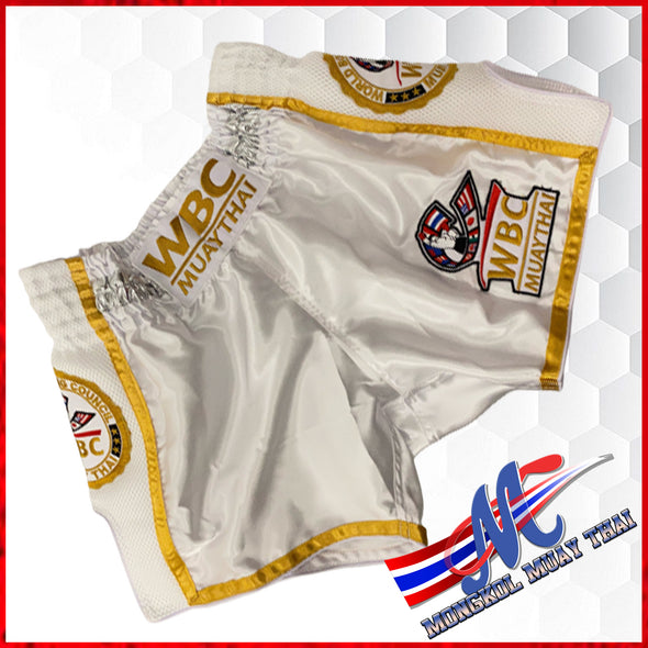 WBC  Muaythai  shorts White Gold