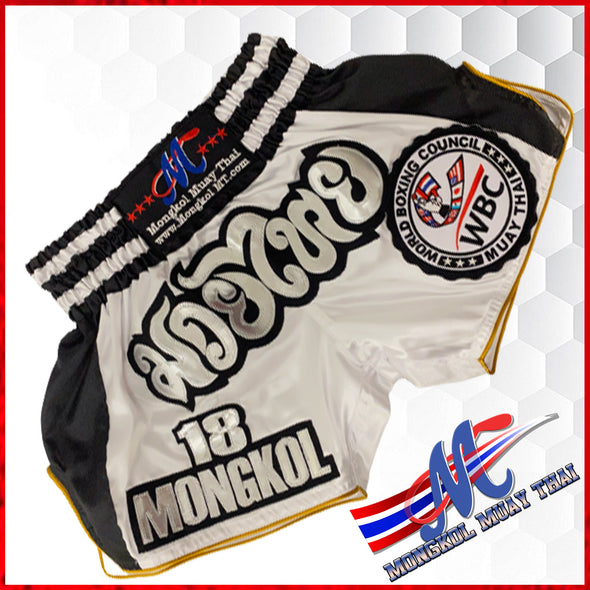 Mongkol Muay Thai WBC  shorts Limited Edition white/black