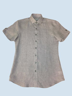 Lt Grey Linen Shirt Q Contrary
