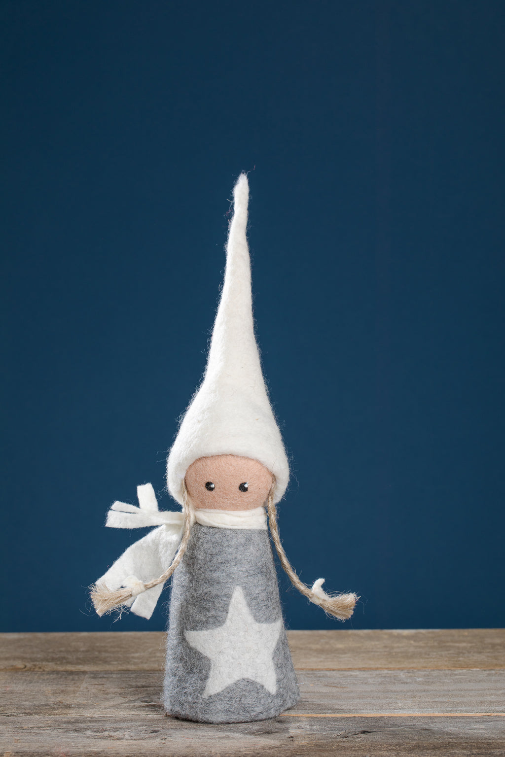 FELTED ELF GIRL, GREY DRESS, WHITE STAR, WHITE HAT