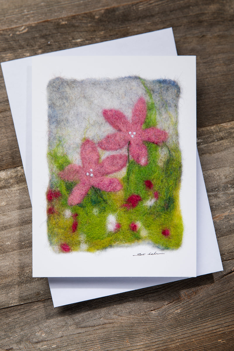 FINNISH FELTED CARDS PINK FLOWERS