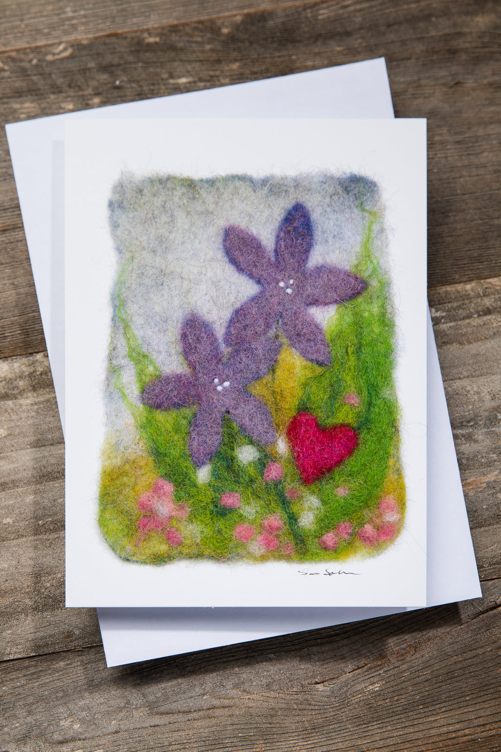 FINNISH FELTED CARDS PURPLE FLOWERS