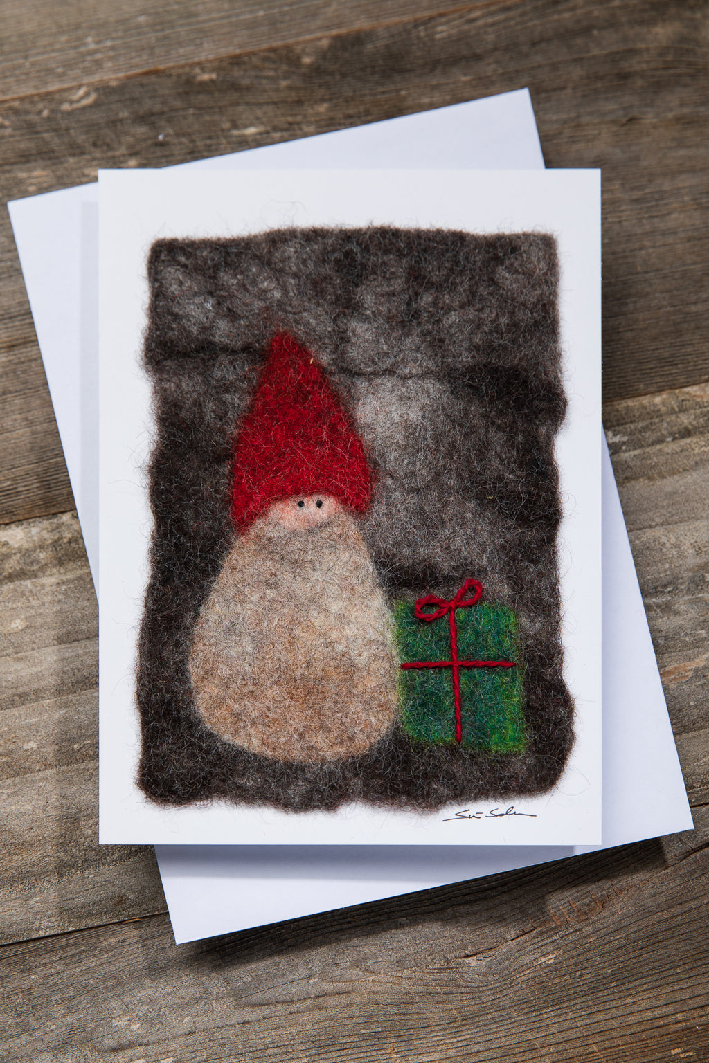FINNISH FELTED CARDS GIFT ELF, DARK