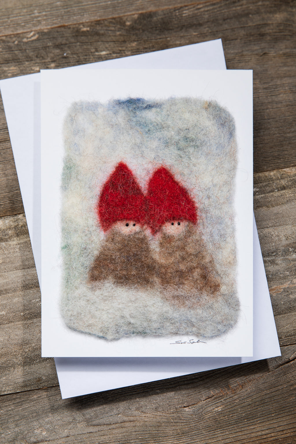 FINNISH FELTED CARDS TWO ELVES, RED