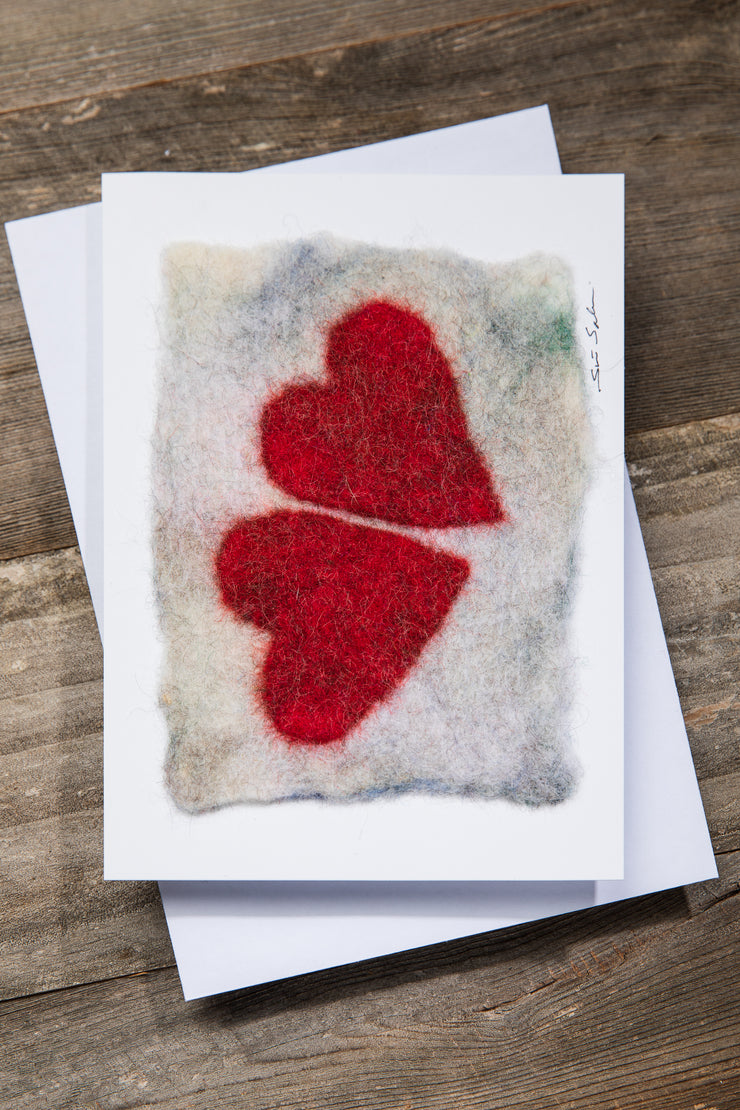 Finnish Felted Cards Two Hearts