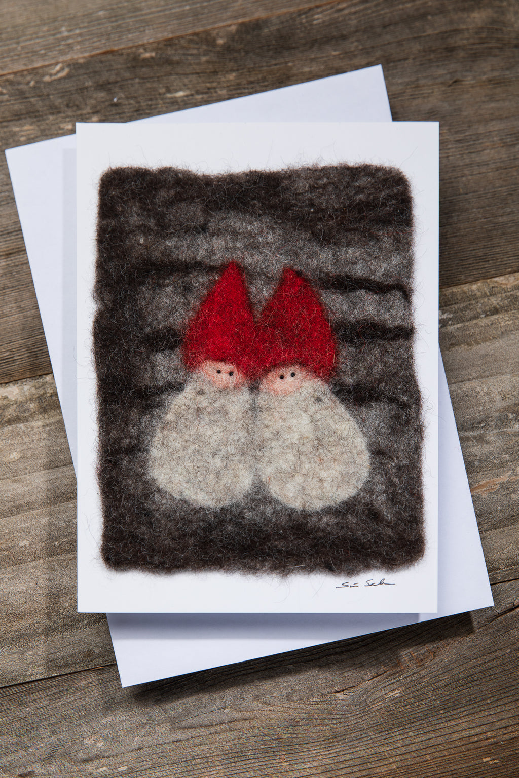 FINNISH FELTED CARDS TWO ELVES, DARK