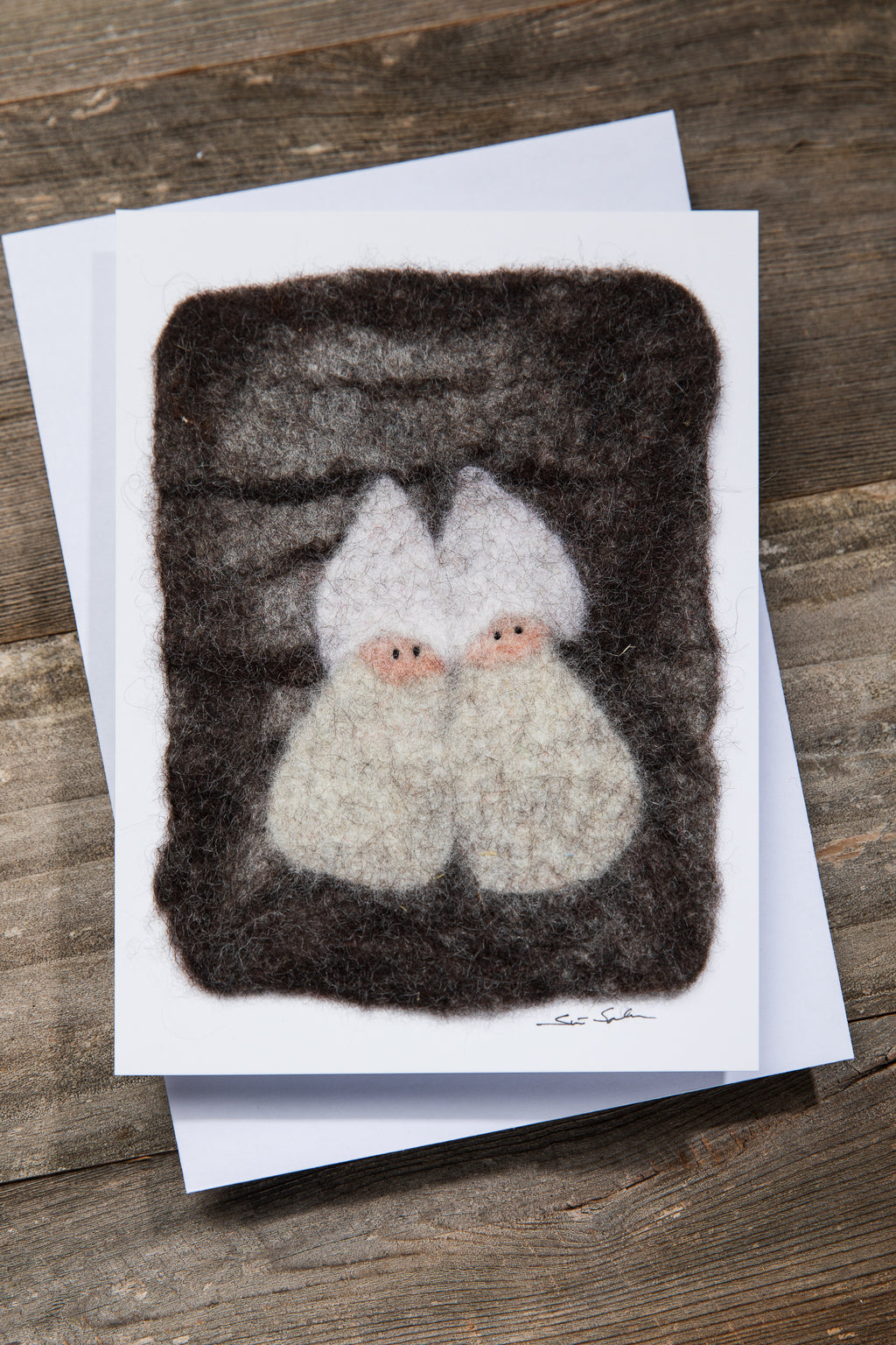 FINNISH FELTED CARDS TWO ELVES, WHITE