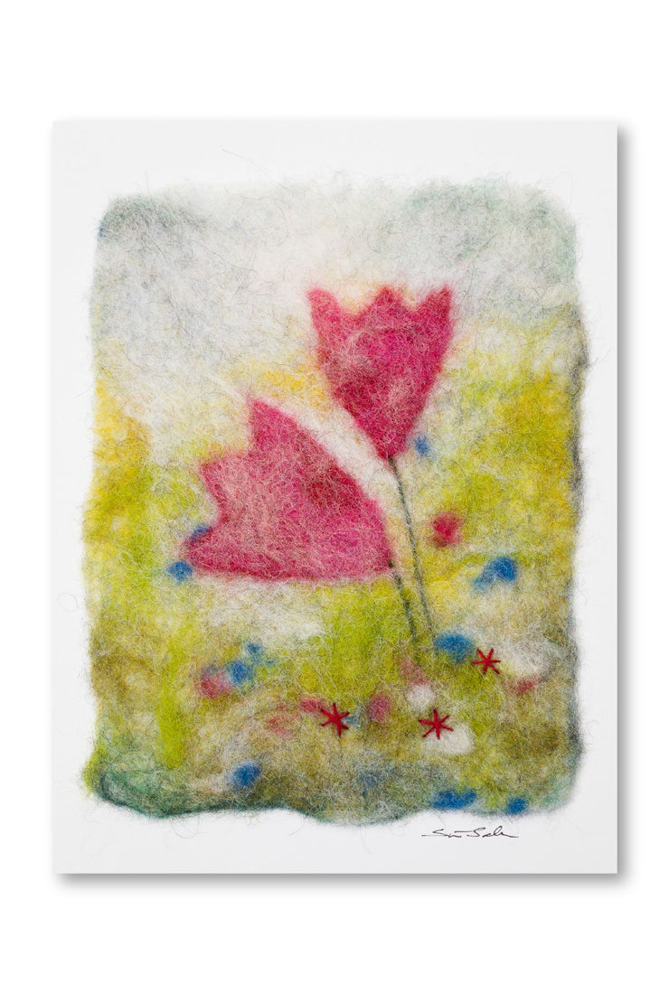 Finnish Felted Cards Pink Tulips
