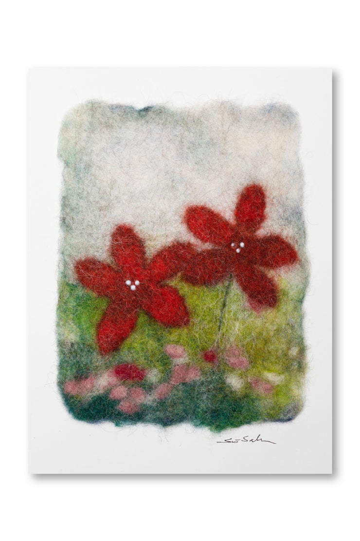 Finnish Felted Cards Red Flowers