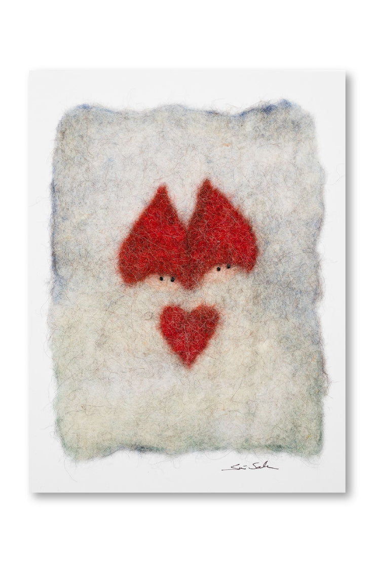 Finnish Felted Cards Two Elves White