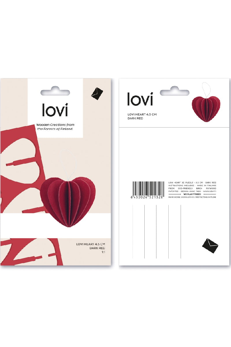 LOVI HEART DARK RED 4.5 CM
