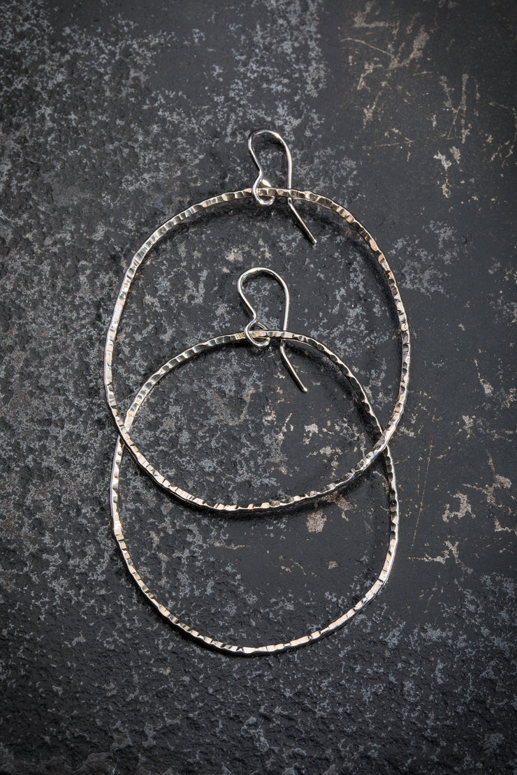 DESIGN LAAKSO LARGE SILVER HOOPS, 1 3/4""